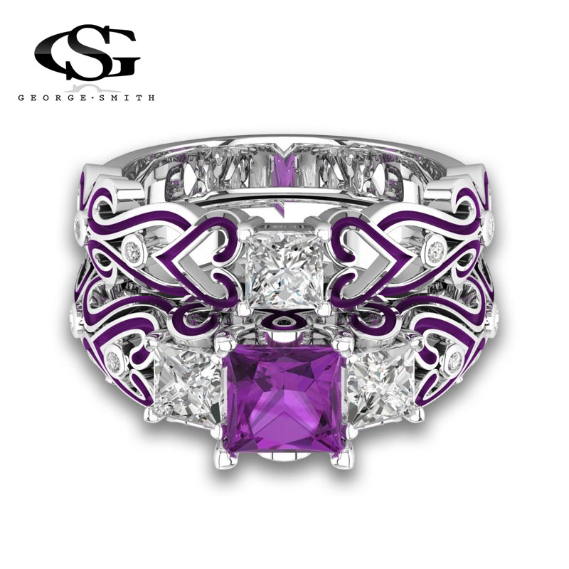 GS Jewelry Promise Engagement Double Rings For Women Ladies Rose Gold Color Pairs Purple ...