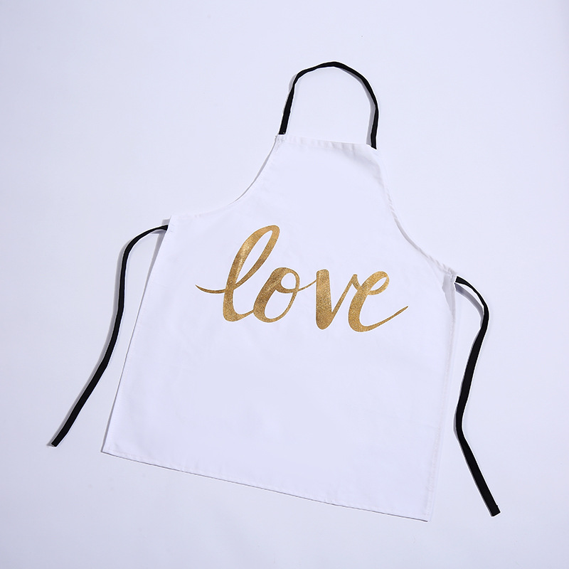 Image 4 - 1Pcs Bronzing love Pattern Cotton Apron Adult Bibs Home Cooking Baking Coffee Shop Cleaning Aprons Kitchen Accessories 46137-in Aprons from Home & Garden