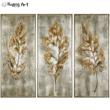 3Pcs Champagne Leaves Oil Painting on Canvas Hand Painted Modern Abstract leaf Landscape for Room Wall Decor Art
