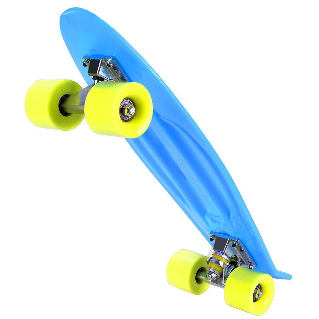 ANCHEER Mini planche à roulettes en plastique coloré planche à roulettes complète unisexe planche à roulettes plate-forme pour garçon filles