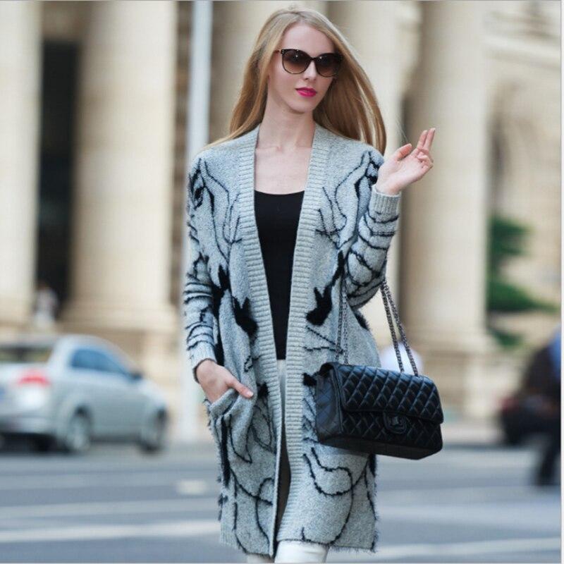 La Longues 2017 Long 4xl xxxl Manches Style Plus 5xl Automne Cardigans Imprimer Taille Manteau Xl Poche Femmes Pull Nouveau Européen HeYW92EDI