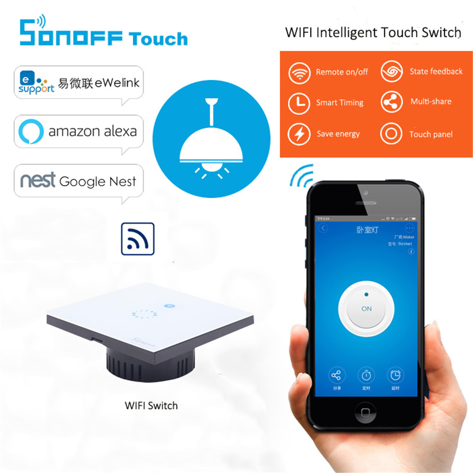 Sonoff EU Plug Wifi wireless Touch Luxury Glass Panel Touch LED Light Wall Switch 1Gang Wifi Time Switch Remote Control Ewelink 2017 smart home crystal glass panel wall switch wireless remote light switch us 1 gang wall light touch switch with controller