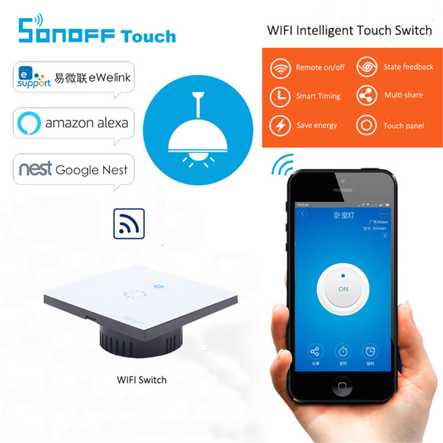 Sonoff EU Plug Wifi wireless Touch Luxury Glass Panel Touch LED Light Wall Switch 1Gang Wifi Time Switch Remote Control Ewelink