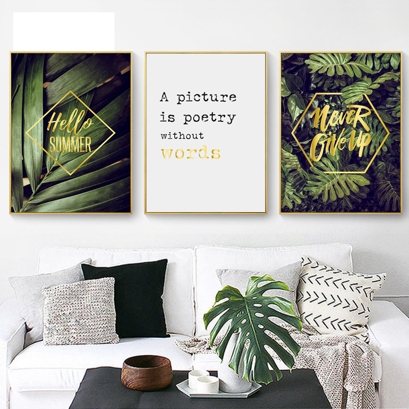Nordic posters and prints green fresh plant canvas painting life quote wall art painting wall pictures for living room no frame in painting calligraphy