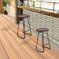2PCS Pub Bar Stool Classic Backless Barstool Vintage Rustic Design Kitchen Wooden Stool Industrial Style Home Furniture
