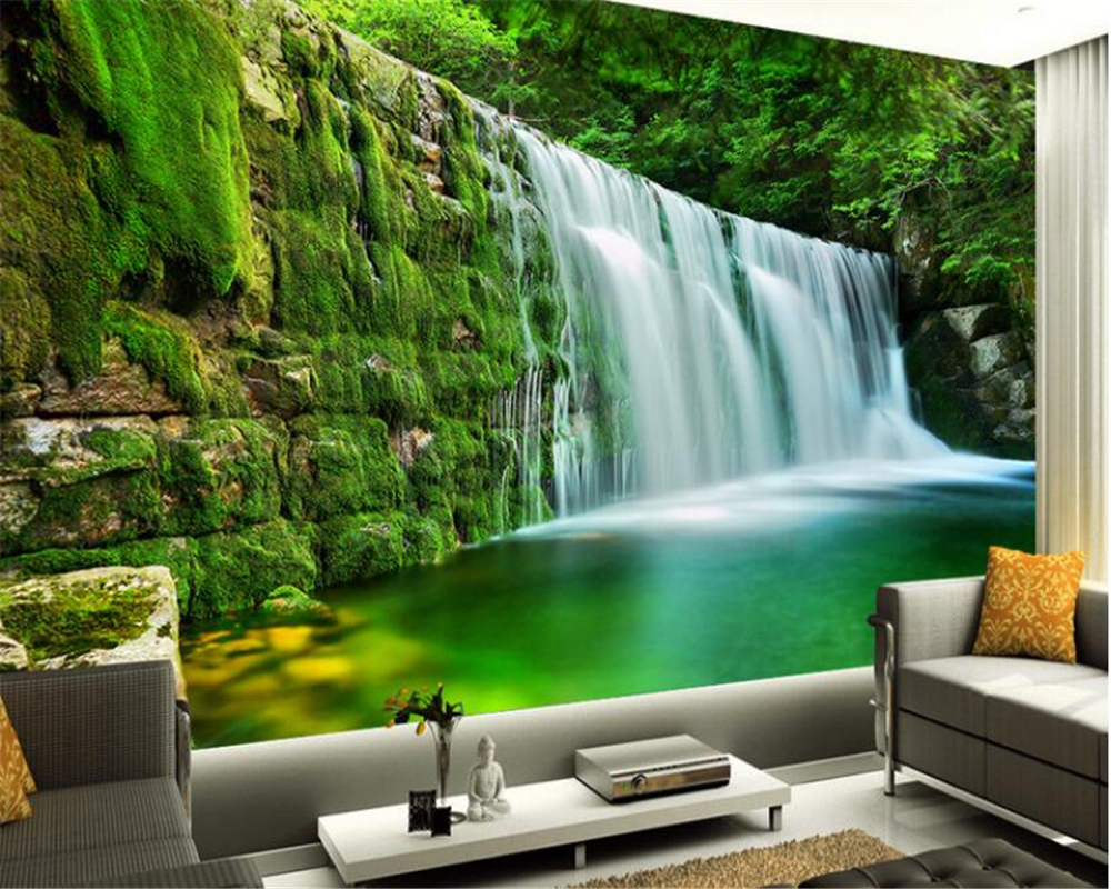 beibehang Large Aesthetic Wallpaper Wonderful Green Forest Falls TV Bedroom Living Room Backdrop Wall papel de parede wall paper