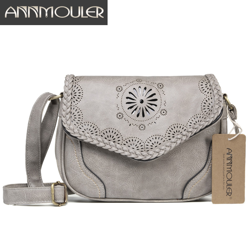 Annmouler Brand New Crossbody Bag Pu Leather Women Satchel Bag Hollow Out Shoulder Bag Vintage Black Handbags Messenger Bag