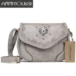 Annmouler nova marca crossbody saco de couro do plutônio das mulheres bolsa de ombro oco para fora saco do mensageiro do vintage bolsas pretas
