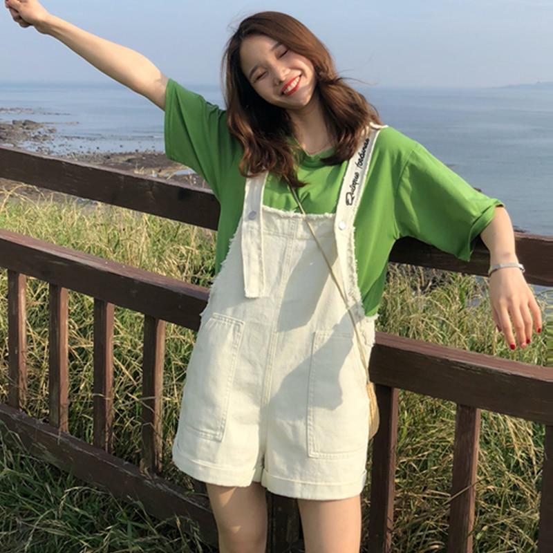2018 Cute Suspender   Shorts   Women Preppy Style   Short   With Pocket Denim Women Denim Overalls Retro Vintage Aesthetic Tumblr   Shorts