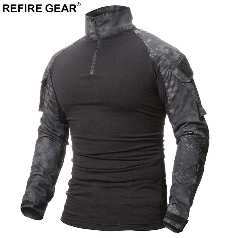 Refire Gear Outdoor T shirt Men Long Sleeve Hunting Tactical Military Army Shirts Uniform Hiking Breathable