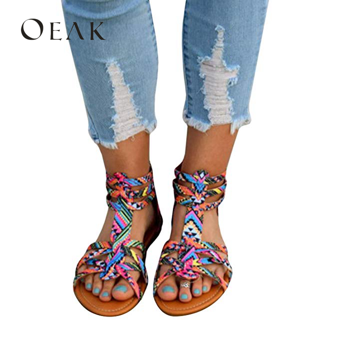 Summer Sandals Womens Shoes Flat Comfortable Family Wind Bohemia Shoes Woman Size 35-43 Botines Oeak 44Summer Sandals Womens Shoes Flat Comfortable Family Wind Bohemia Shoes Woman Size 35-43 Botines Oeak 44