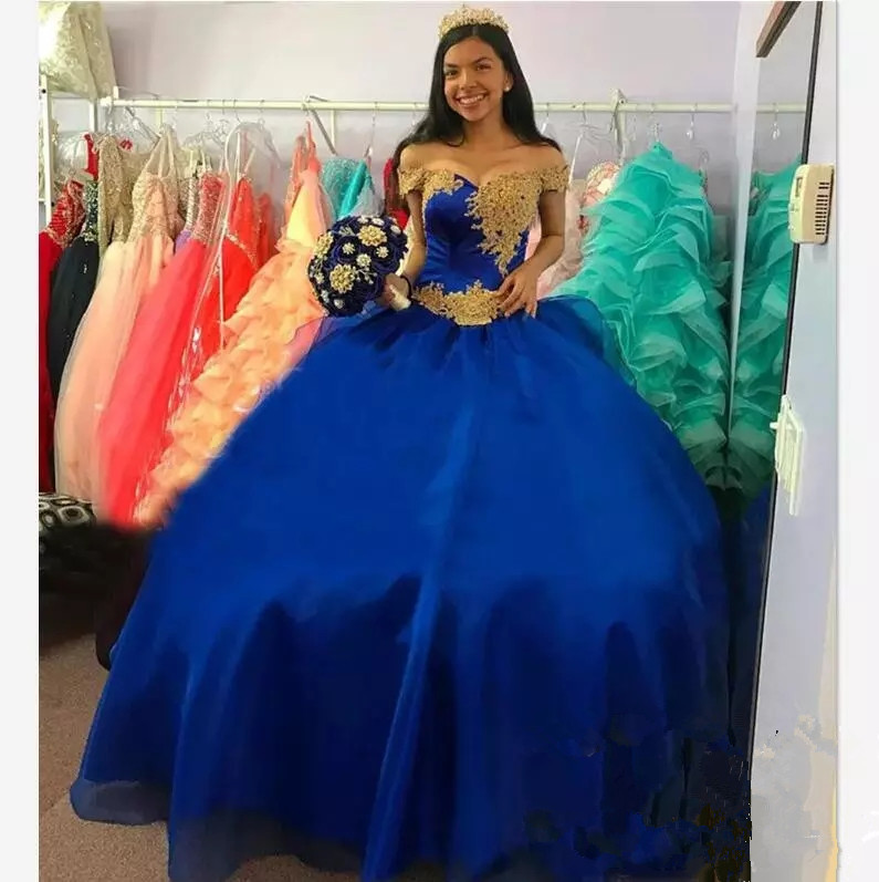 Cinderella Royal Blue Pageant Quinceanera Dresses Gold Appliques Beads Off  Shoulder Ball Gown Long Sweet 16 Dress Prom Gowns