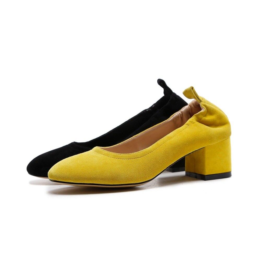 Auf High Hochzeit Topf Street Heels Schuhe gelb Krazing Party Europäischen Schwarzes Slip 2019 Solide Pumpen Runway Med Fashion L75 Zehe Stil Dicken Runde 8FFqTw7d