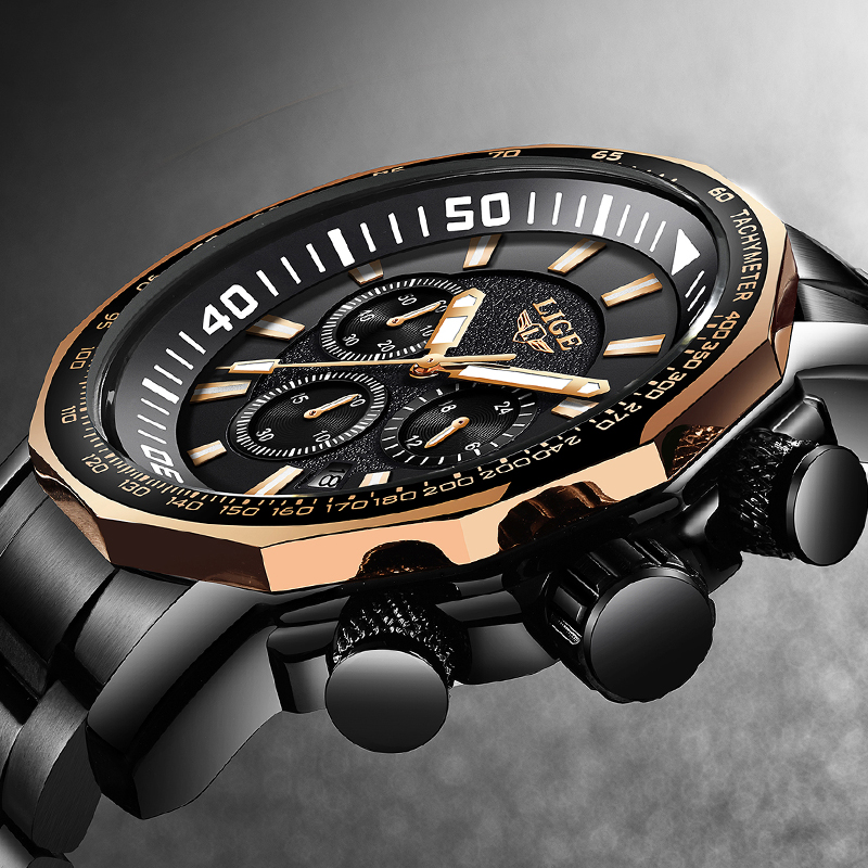 Relojes Hombre LIGE Nouveau Grand Cadran Montres Pour Hommes Haut De Gamme En Acier Quartz Montre De Mode Pour Hommes Militaire Étanche Horloge