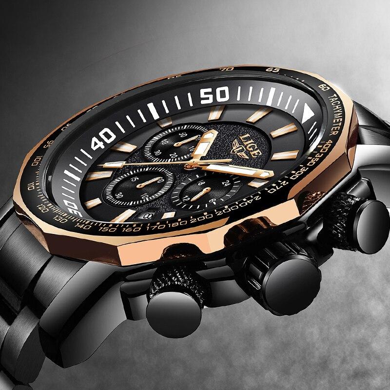 Relojes Hombre LIGE Nuovo Grande Quadrante Mens Orologi Top Brand Acciaio Pieno Mens Orologio Al Quarzo Moda Sport Impermeabile Orologio Militare