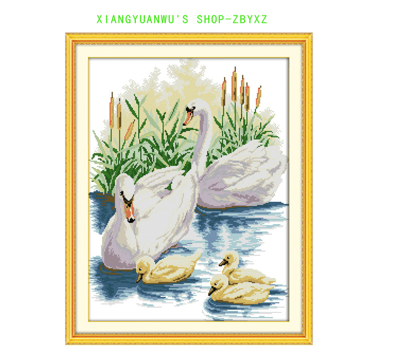 ①1TH familia del cisne patrón contado Cruz Stitch 11CT 14CT Cruz ...