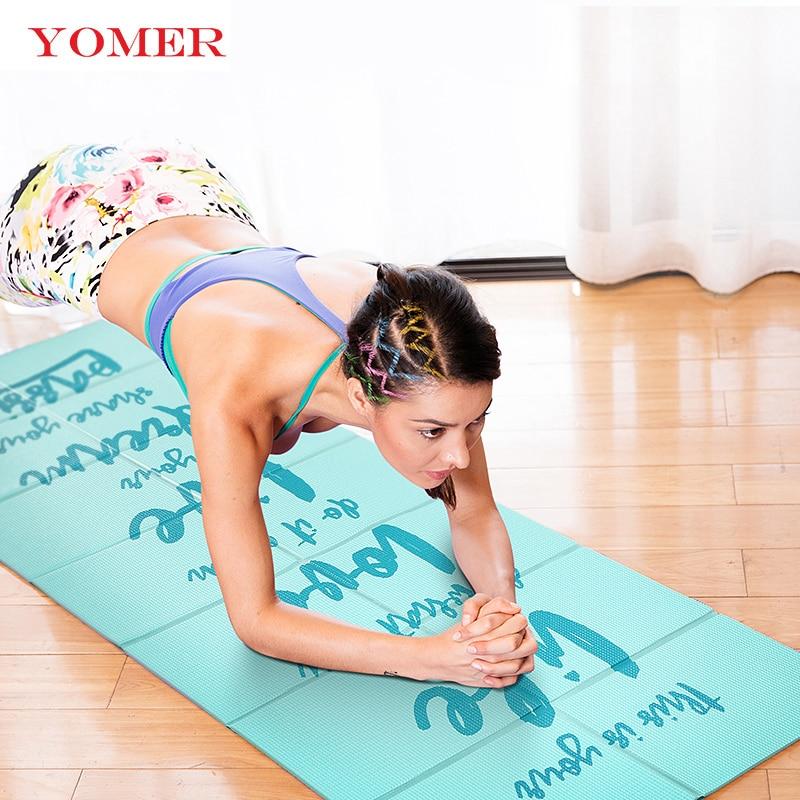 YOMER 5mm PVC antiscivolo Pieghevole Mats Yoga Per Fitness Slim Yoga Gym Esercizio Stuoie All'aperto Pad di Fitness Mat Facile Carry