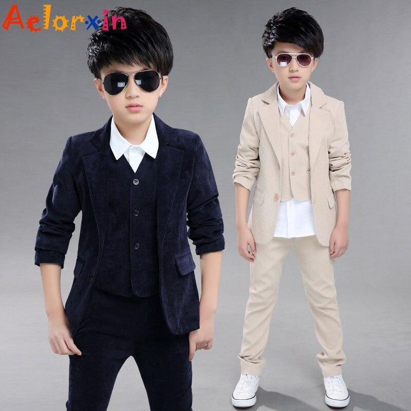 Aelorxin Children Clothing Boy Suits Child Corduroy Suits Jacket + Vest + Trousers Three-piece Suit Kids Clothes Boys Clothes