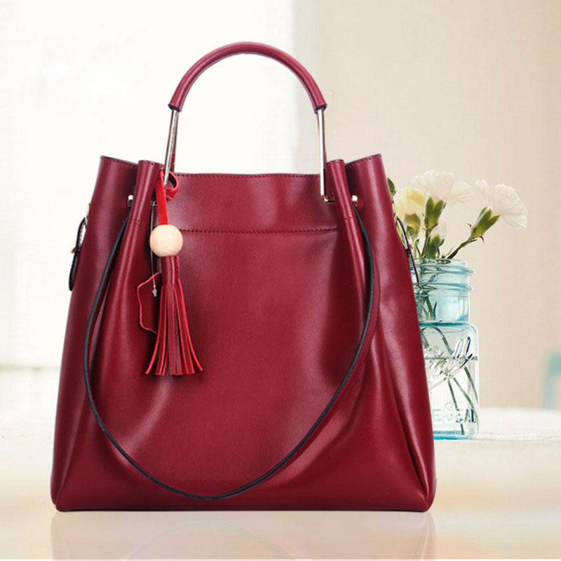 HANYUNA 2017 New Fashion Genuine Leather Ladies Bag Luxury Good Quality Women Handbag with Large Capacity Female Bucket Bag 2017 new women genuine leather bucket handbag fashion panelled color large capacity female single shoulder bag bbh1346