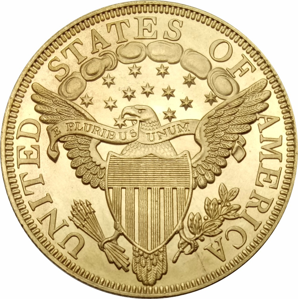 United States of America 10 Dollars Liberty Cap / Large Heraldic Eagle - Eagle 1799 Brass Copy Coins
