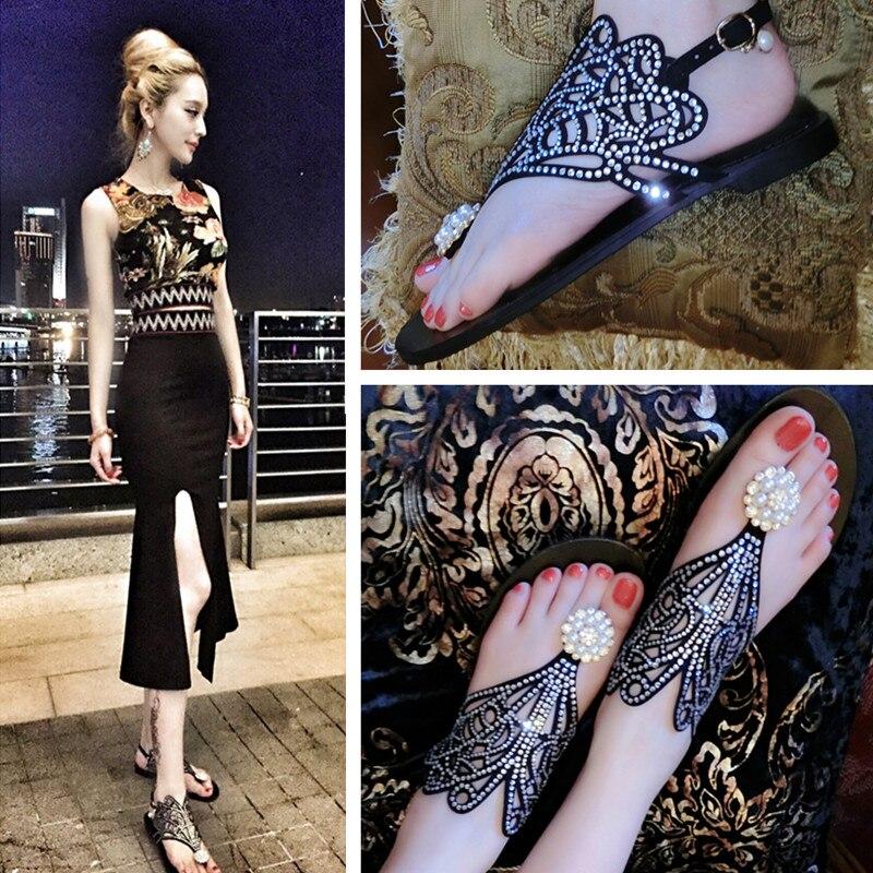 ФОТО 2016 Fashion Summer Flip-flop Sandals women's Shoes Rhinestone Flat Sandals Genuine Leather Gladiator Sandals Women Sandalias