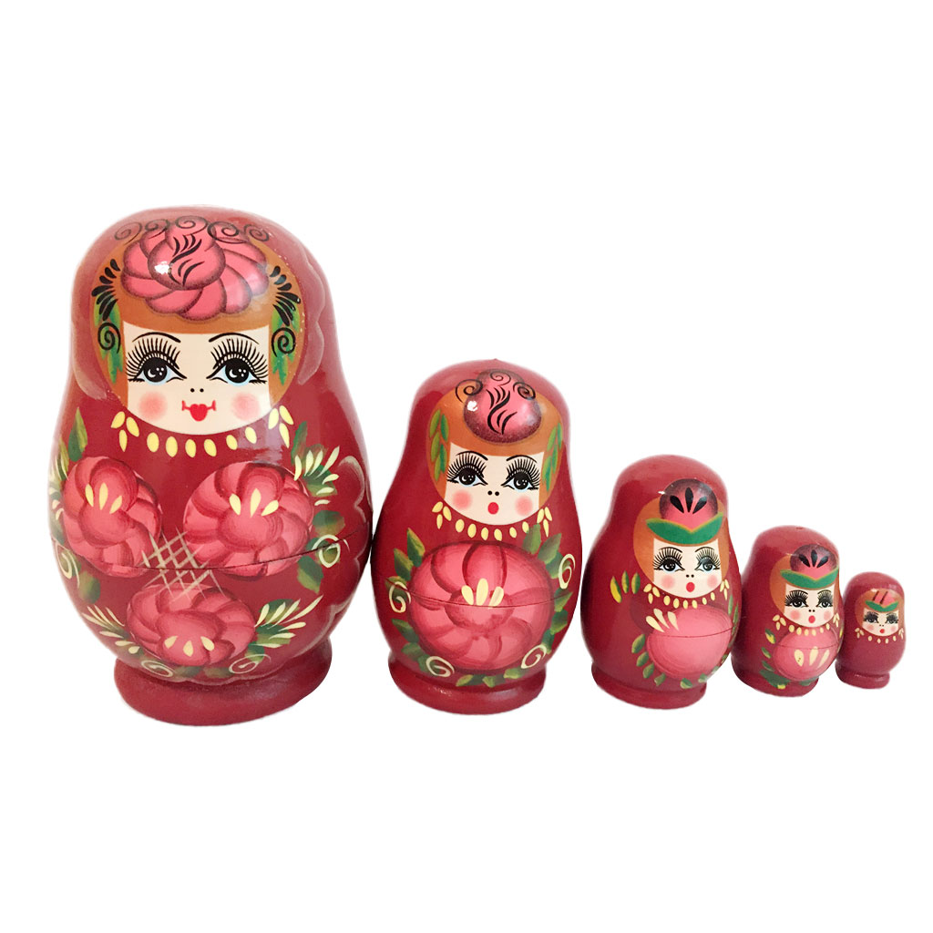 New Wholesale 5PCS Red Hand Painted Wooden Russian Nesting Dolls Baby Interactive Toy Girl Doll Birthday Gift Collectibles