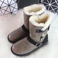 Invierno de lujo Sheeoskin Botas Knight Botas de Lana de Piel de Oveja Natural de Las Mujeres Mediados de la Pantorrilla Botas de Mujer de Cuero Genuino Zapatos Femeninos