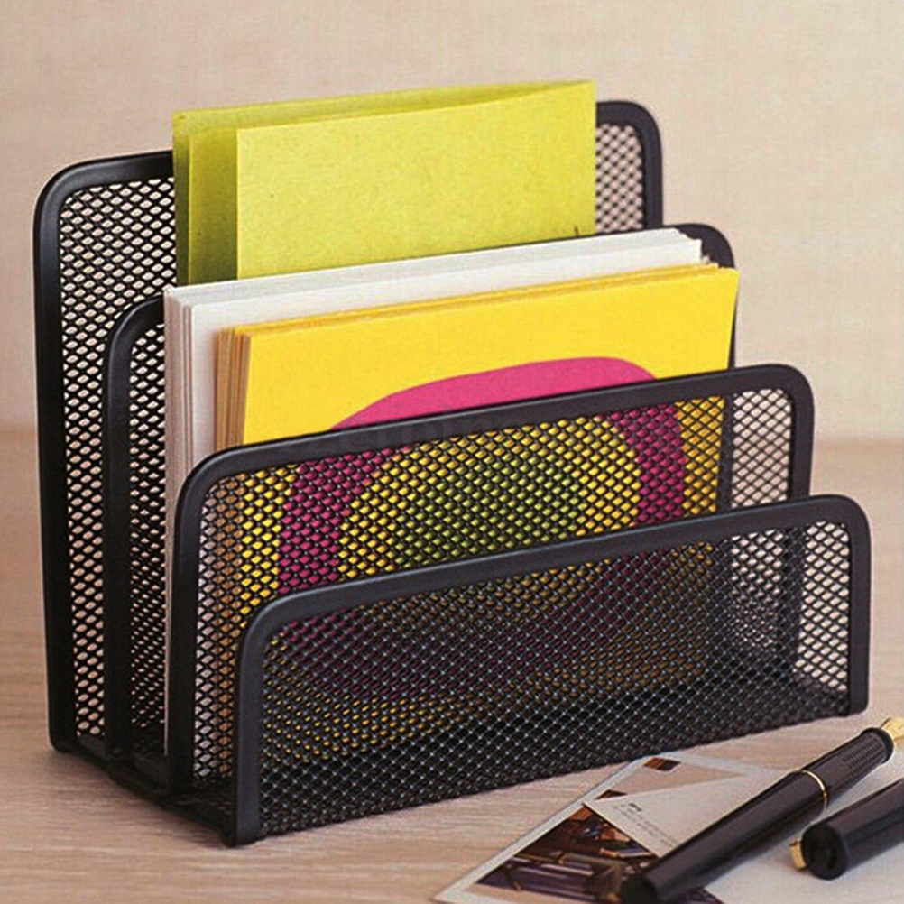 Black Mesh Letter Paper File Storage Rack Holder Tray Organiser Desktop title=