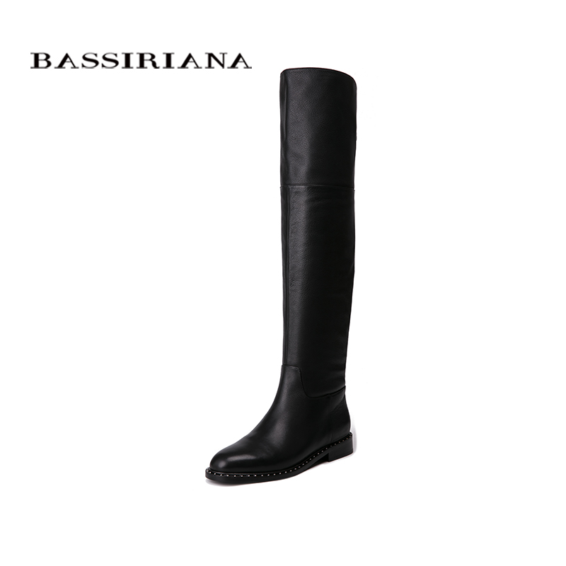 BASSIRIANA 2018 New Over-the-knee Genuine leather boots women Winter shoes woman Zip 35-40 High quality Free shipping bassiriana knee high boots suede women winter shoes for woman comfortable high heels shoe 35 40 free shipping