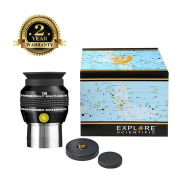 New Explore Scientific Eyepiece, 68 grados, campo extremo amplio, resistente al agua, 1,25 pulgadas, 16mm, recubrimientos EMD con purga de argón