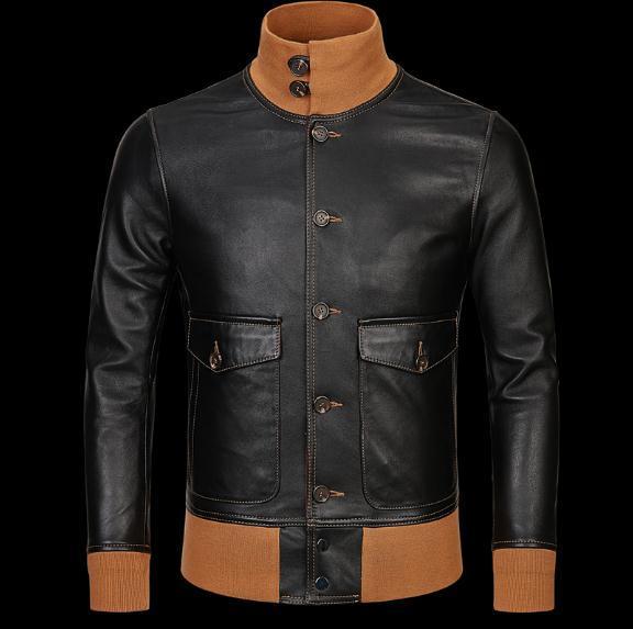 Livraison gratuite, veste en cuir classique A1 pour homme, manteau vintage en peau de mouton véritable. vestes hommes noirs fins et doux. vêtements de vol
