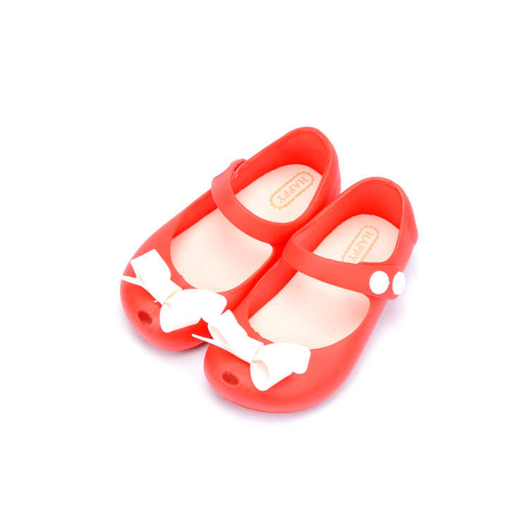 8e22b0570c ... Mini Melissa Baby Girls Jelly Sandals with Bow Flat Heel Kids Shoes  Bowknot Red Pink Princess ...