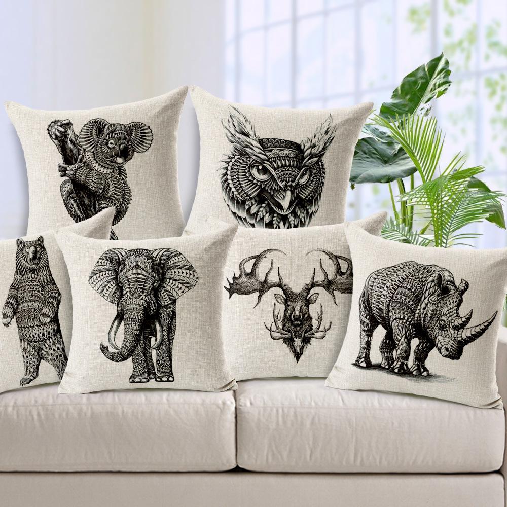 animal cushion cover cotton linen pillow case owl sofa decor throw cushion cover home decor elephant - Elephant Home Decor