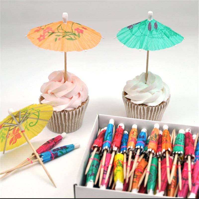 10pcs Mini Umbrella Toppers Picks Cupcake Topper Baby