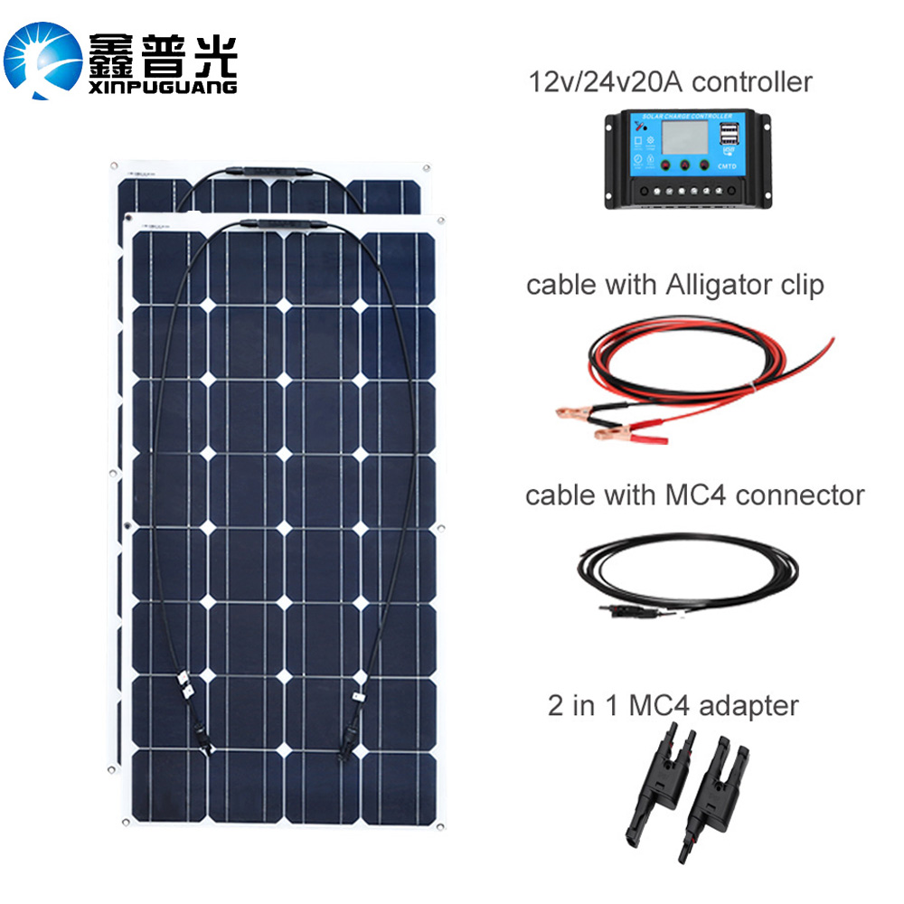 XINPUGUANG 200 w sistema di pannelli Solari 2 pcs 100 W pannelli solari Flessibili 12 v o 24 v Regolatore solare filo connettore Fotovoltaico
