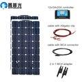 XINPUGUANG 200 w zonnepaneel systeem 2 stuks 100 W Flexibele zonnepanelen 12 v of 24 v solar Controller connector Fotovoltaïsche draad