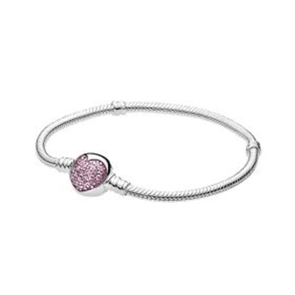 NEW 2018 New 100% 925 Sterling Silver Sparkling Heart Bracelet Clear CZ Pink Zircon Charm Women of Fashion DIY Gift Jewelry