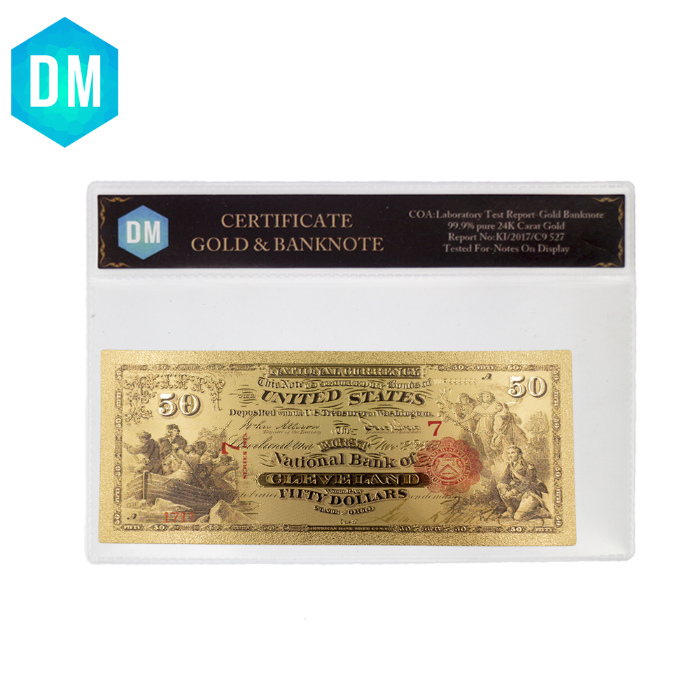 50 Dollar American Color Gold Banknote 24k Gold Plated Bank Money Lucky Souvenir Gifts Fake Money with Frame