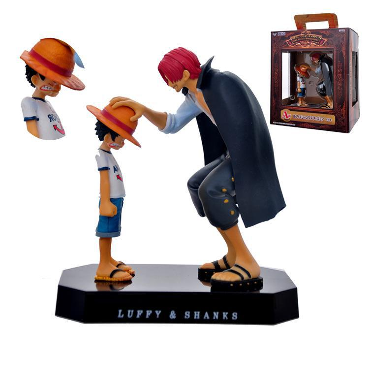 Anime One Piece Monkey D Luffy & Shanks Moving Scenes 18cm PVC Action Collection Figures Model Toys new arrival free shipping one piece watch strawhat luffy skull emboss watch anime embossment watches anime toys watches