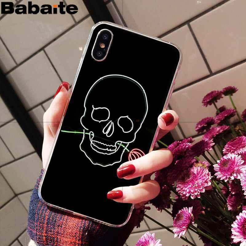 Babaite nền Đen huỳnh quang hoa văn nhỏ phông chữ Neon Ốp Lưng điện thoại Apple iPhone 8 7 6 6S 6S Plus X XS Max 5 5S SE XR Bao