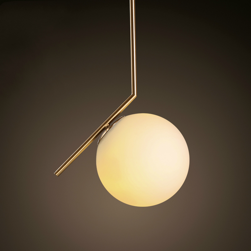 Hot Sale Simple Postmodern Style Pendant White Glass Ball