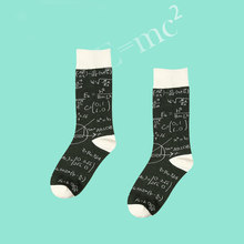 PEONFLY Learning talent E=MC2 Textbook Study PA Series Original Old Cartoon Doodle Full Cotton Men Women funny Socks female(China)