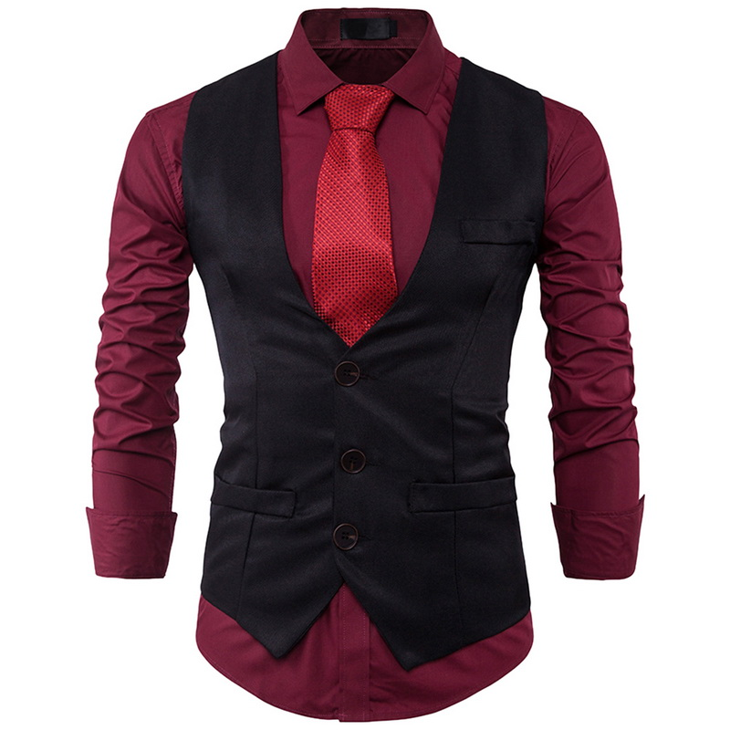 Laamei  Men's FashionSuit Vest Single Row Three Button Lapels Solid Color Gentleman 2018 New Slim Male Vest