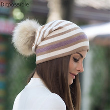 Ditpossible double layers warm beanie hats for women girls skullies real fur pompoms hat