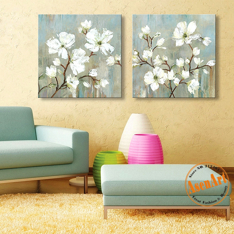 2 Pcs Hand Painted White Flower Oil Painting on Canvas Modern Wall Art Pictures for Living Room Home Decor No Frame-in Painting & Calligraphy from ...