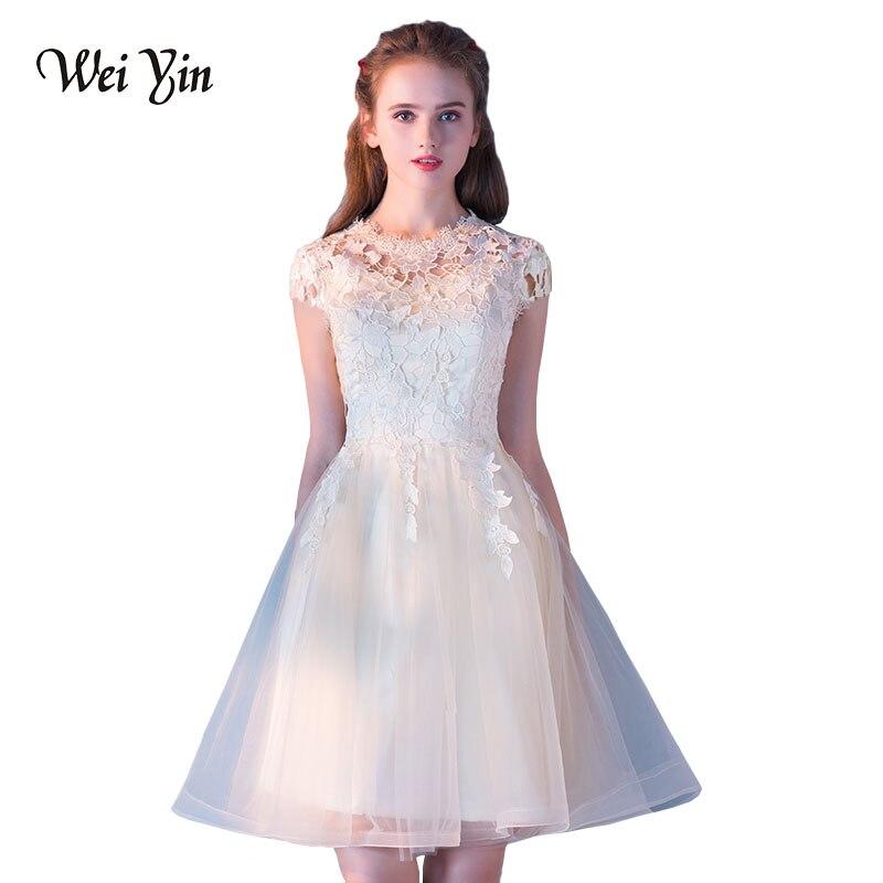 WEIYIN Vestido De Festa Short Prom Dresses 2018 Elegant A Line Champagne Prom Dress Gown Formal Party Dresses Evening Gown