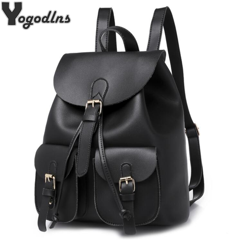 Classic 2019 New Women Backpack Large Capacity Backpacks for Girls Teenagers Bag Solid PU leather Shoulder Bags with pocketsClassic 2019 New Women Backpack Large Capacity Backpacks for Girls Teenagers Bag Solid PU leather Shoulder Bags with pockets