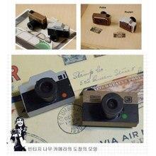 2pcs/lot 4*3*1.2cm Creative Log Retro Stamp Small Camera Pattern Seal DIY Photo Album Essential Stationery Set