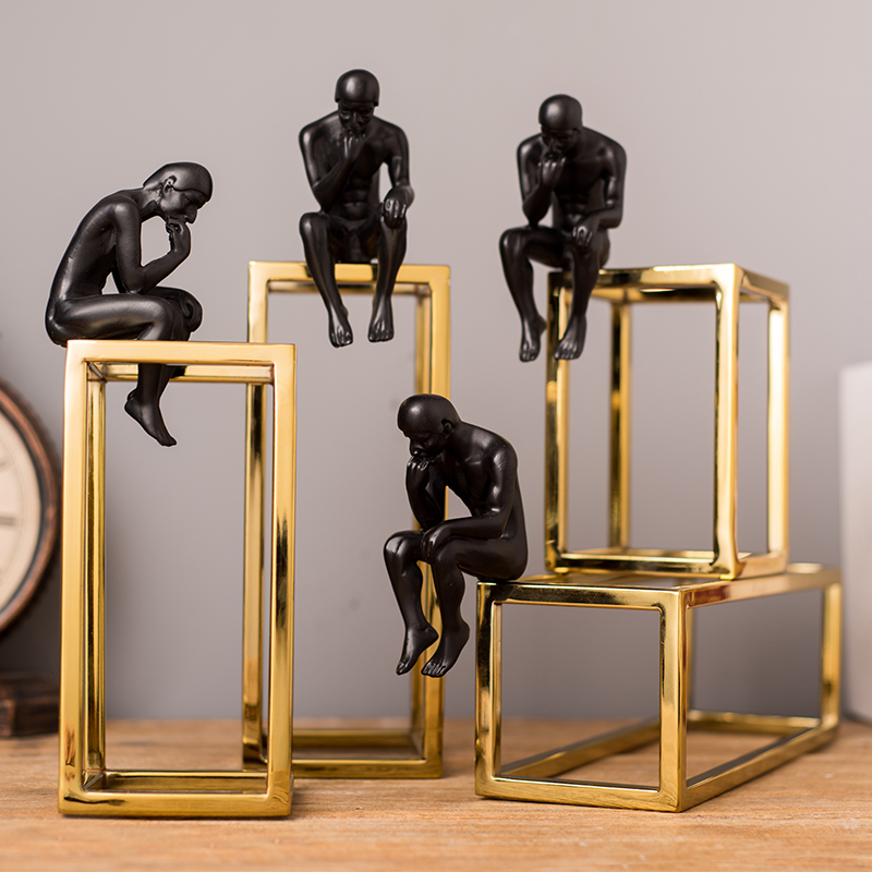 European and American style light luxury thinker character statue decoration home living room desktop wine cabinet