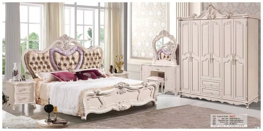 Купить с кэшбэком modern european solid wood bed Fashion Carved  leather  french bedroom set furniture king size HC0026